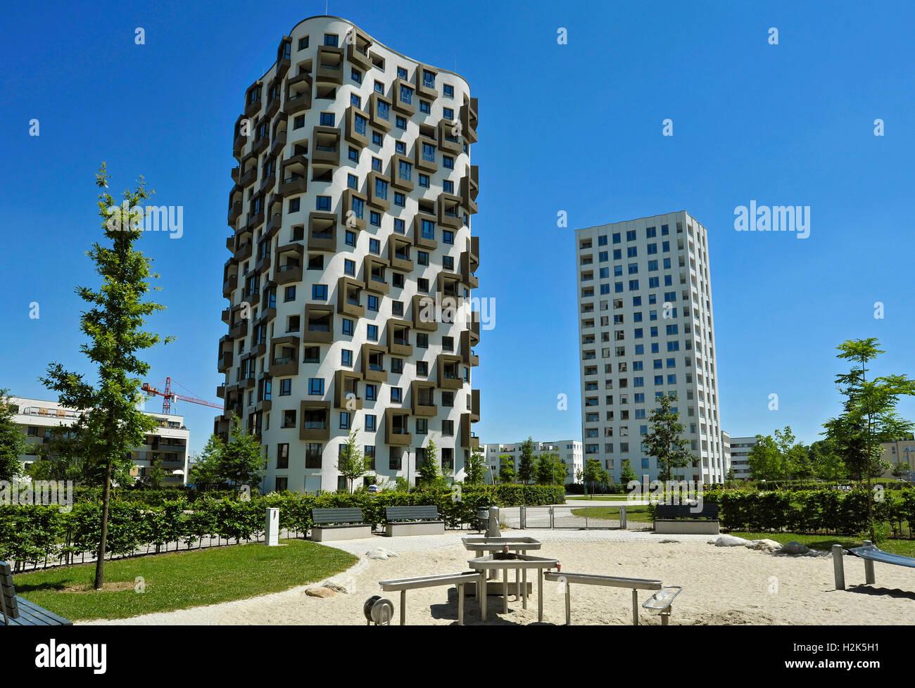 Modern high-rise building, residential area, newly-builtHofmann Höfe, Obersendling, Munich, Bavaria, Germany - Stock Image