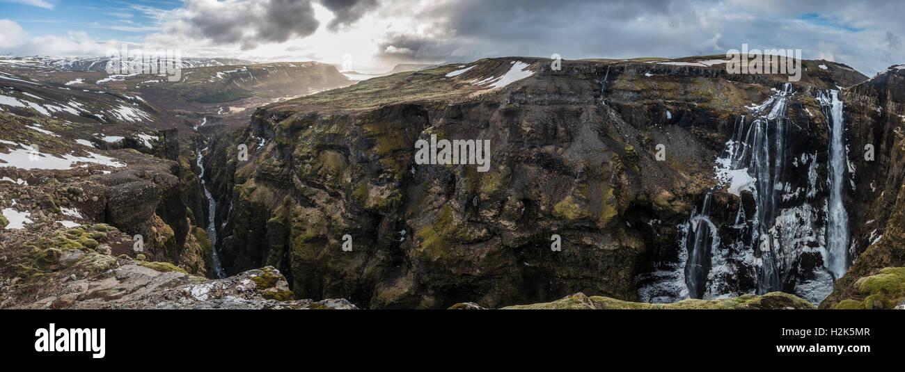 Canyon of Glymur, 196 meter high waterfall, Hvalfjarðarsveit, Western Region, Iceland, Iceland Stock Photo