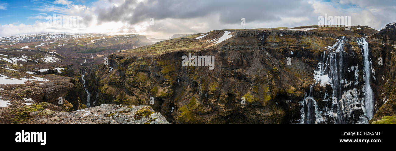 Canyon of Glymur, 196 meter high waterfall, Hvalfjarðarsveit, Western Region, Iceland Stock Photo