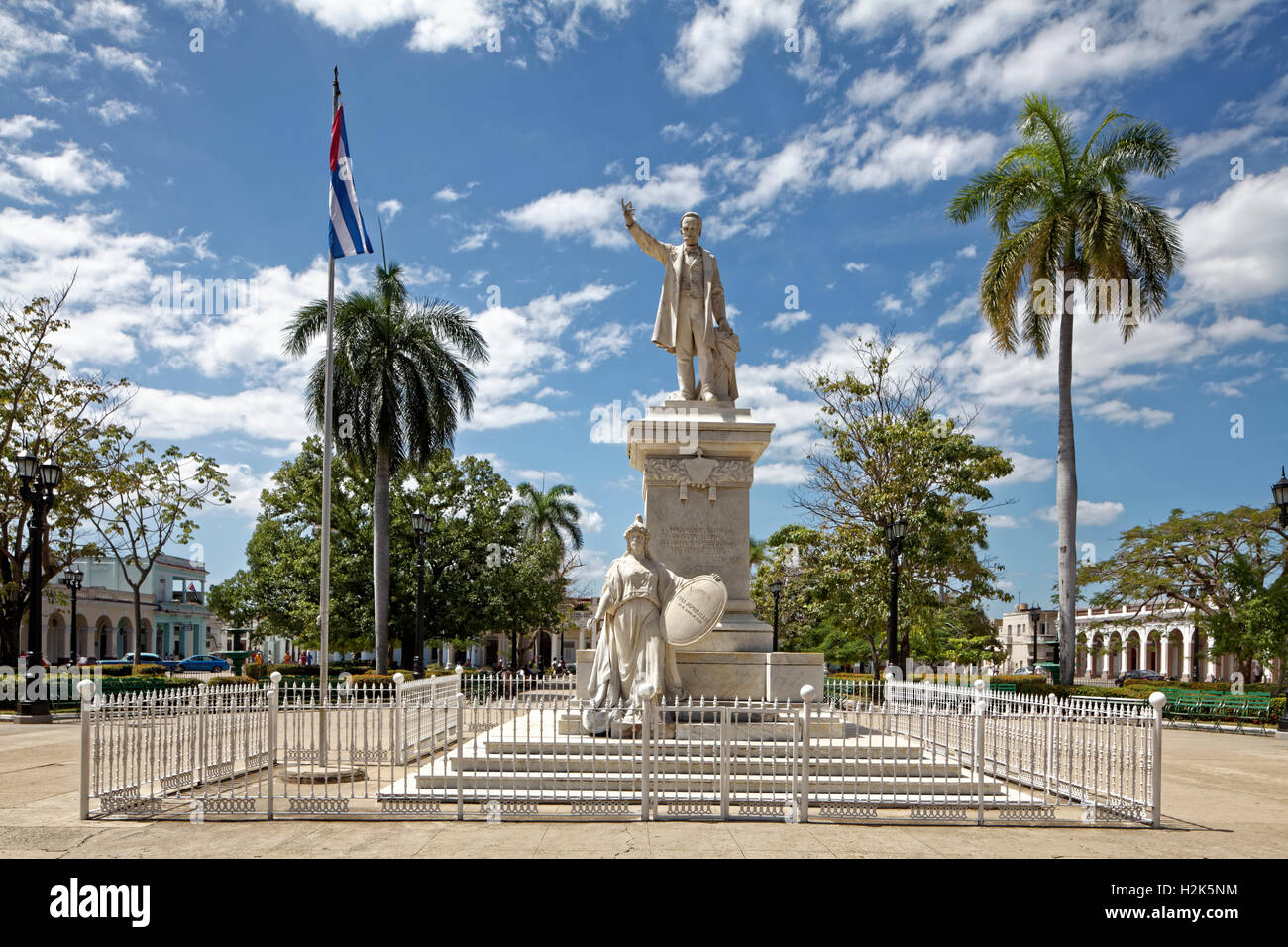 Monument, poet, national hero and freedom fighter Jose Marti, Parque Jose Marti, historic city centre, Cienfuegos - Stock Image