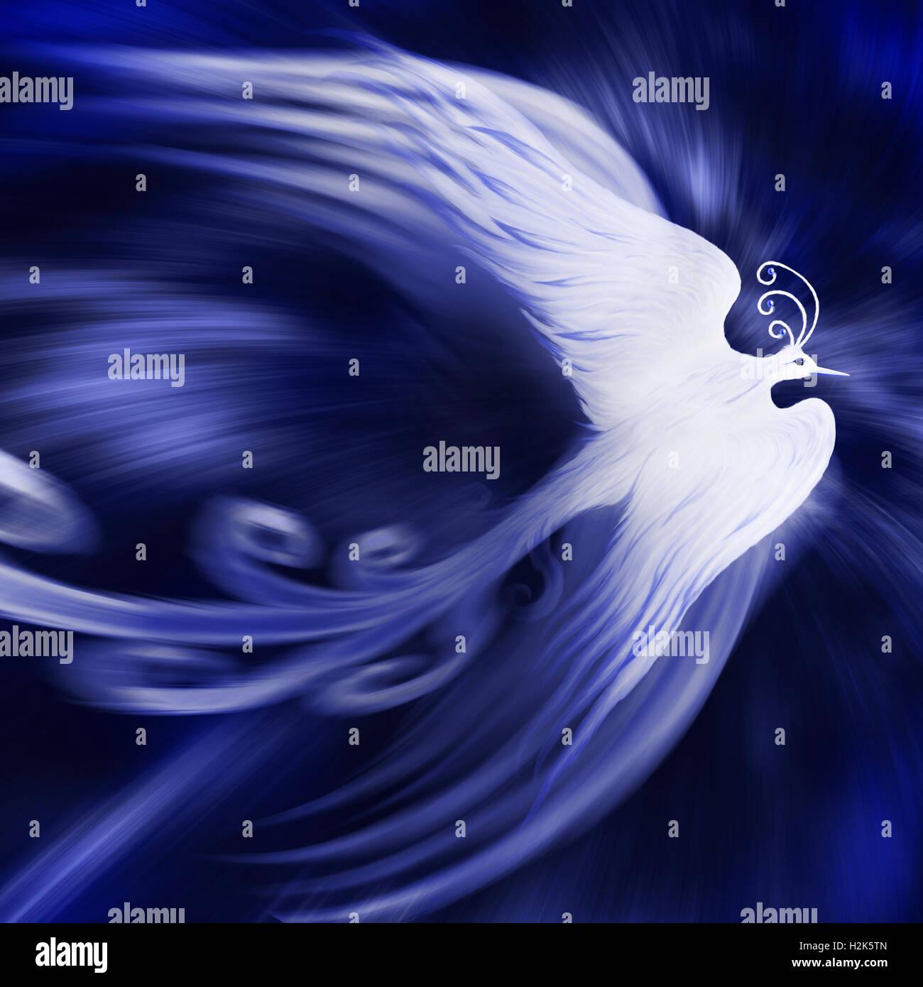 Magical phoenix bird on blue cosmic background, illustration - Stock Image