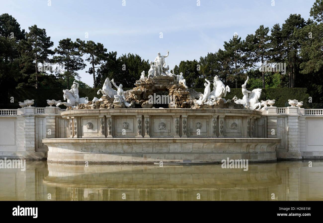 Neptune Fountain, Schönbrunn Palace, Hietzing, Vienna, Austria - Stock Image
