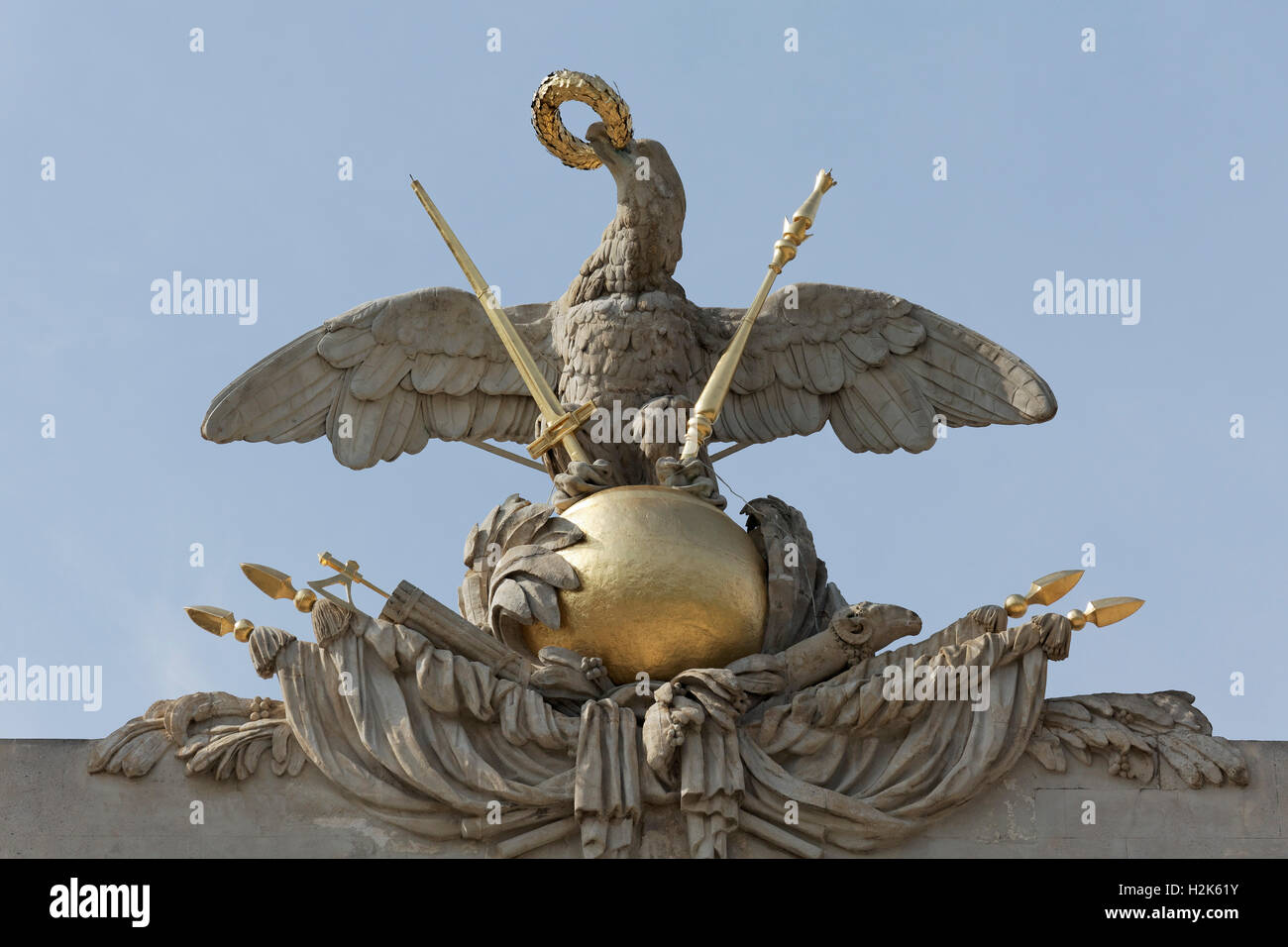 Imperial eagle on globe with sceptre, sword and crown, portal, Gloriette, Schönbrunn Palace, Hietzing, Vienna, - Stock Image