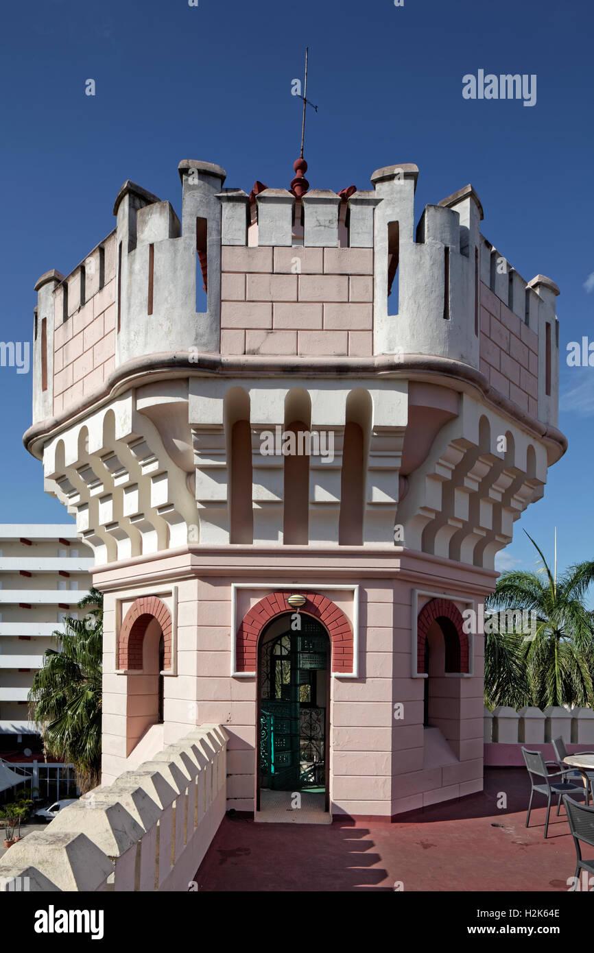 Small tower on roof terrace, Palacio de Valle, architect Alfredo Colli, built 1913-1917, historic city centre, Cienfuegos - Stock Image