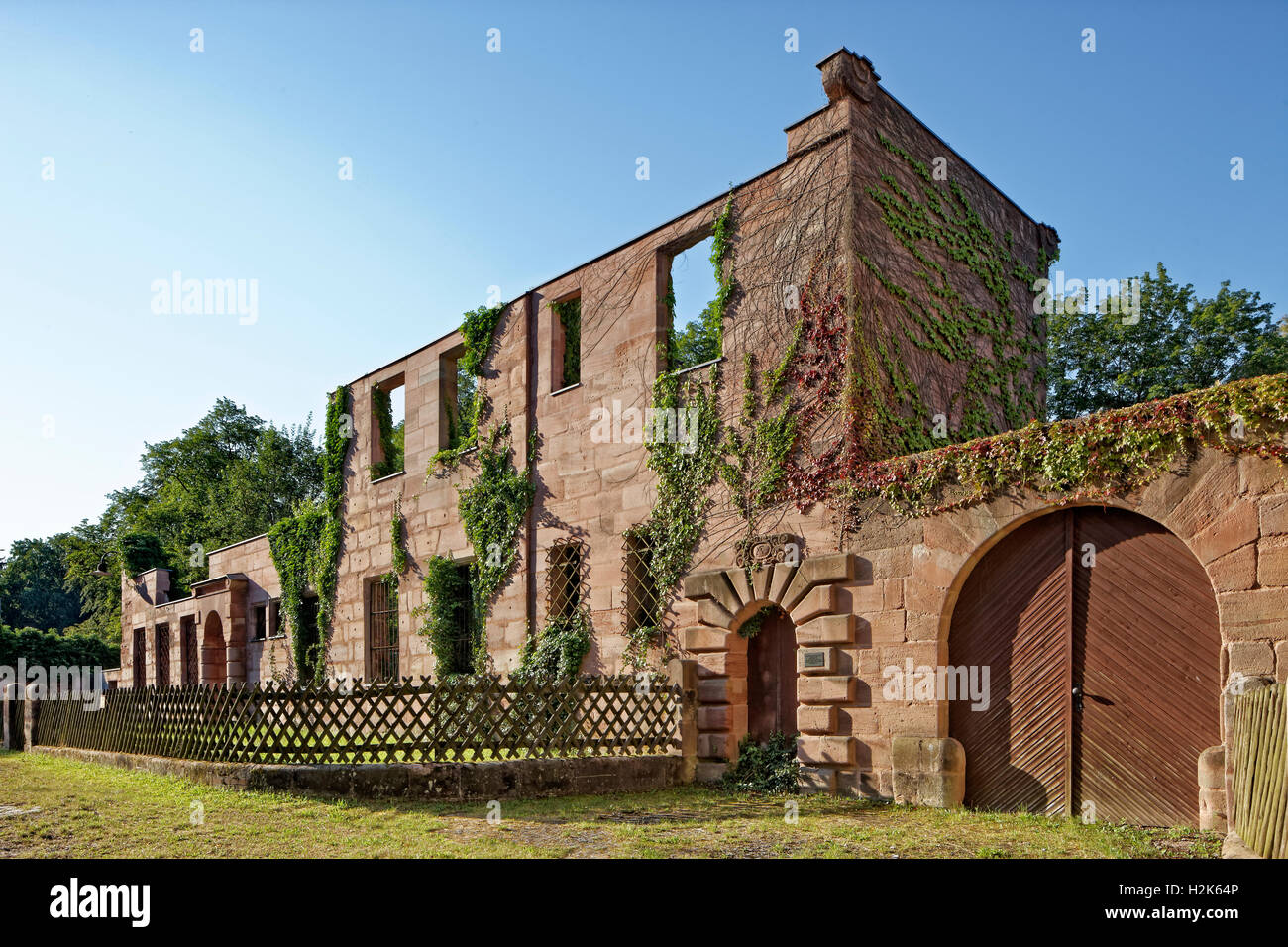 Ruin of the Hammer family mansion, Historical factory Hammer, Laufamholz, Nuremberg, Middle Franconia, Franconia, - Stock Image