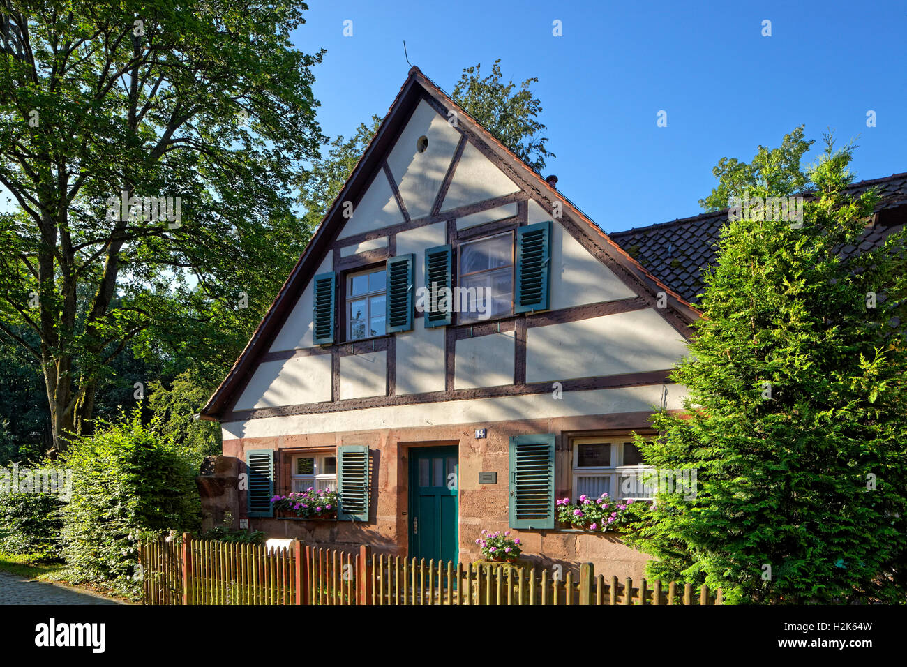 Worker's house, half-timbered building, Historic factory Hammer, Laufamholz, Nuremberg, Middle Franconia, Franconia, - Stock Image