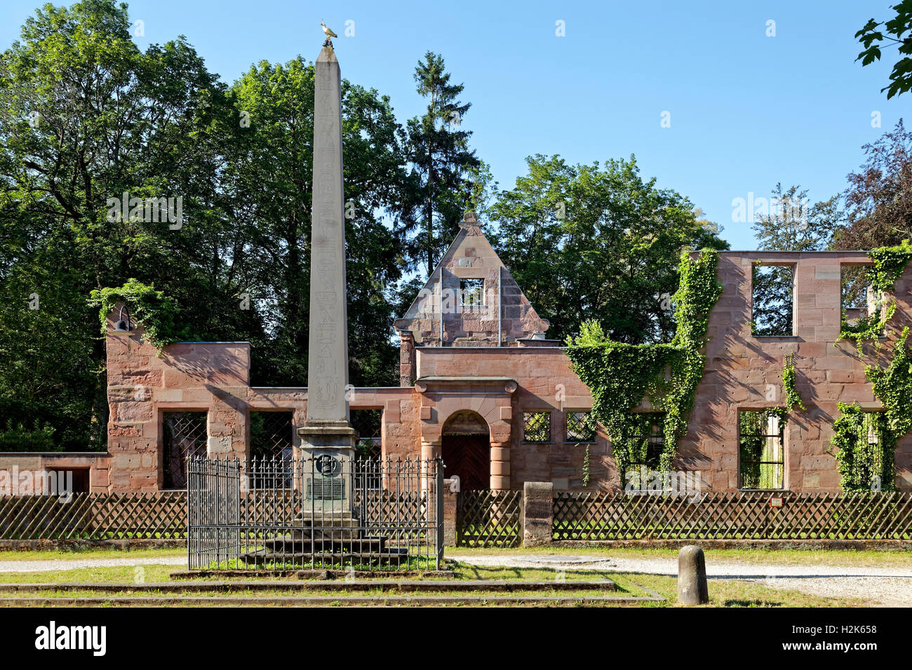 Obelisk with ruins of the of the Hammer family mansion, Historical factory Hammer, Laufamholz, Nuremberg, Middle - Stock Image