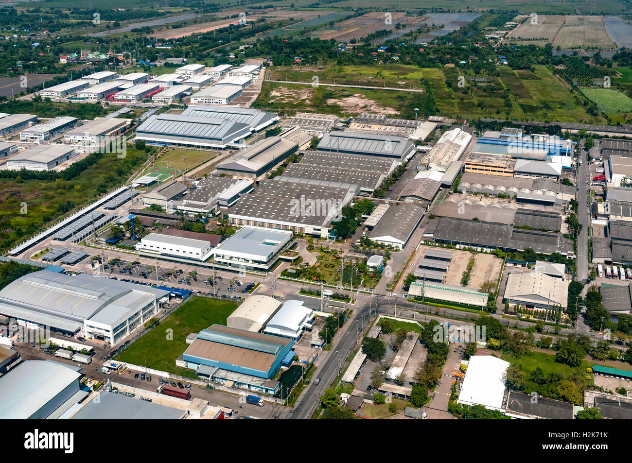 Industrial estate factories warehouse storage facilities and land development - Stock Image