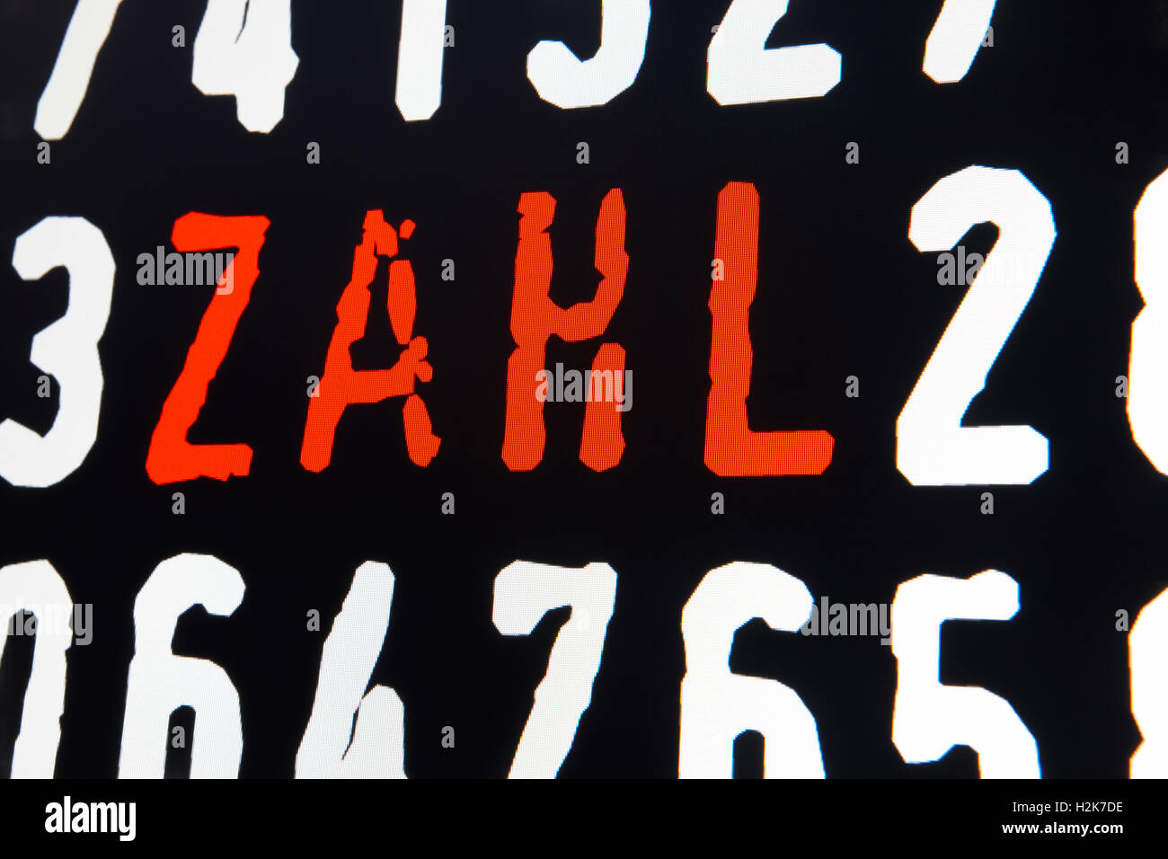 Computer screen with zahl text on black background. Horizontal - Stock Image