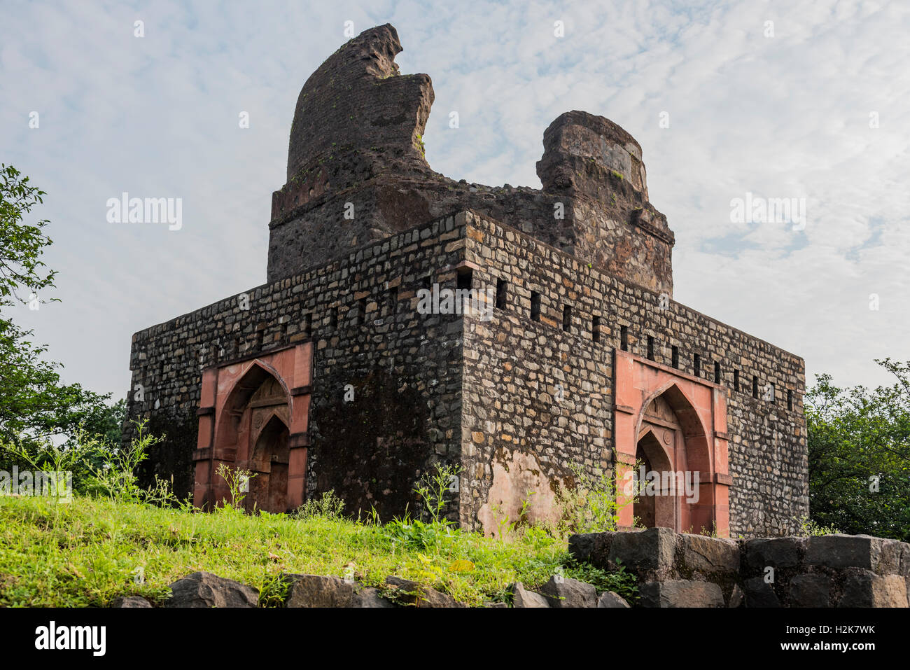 Broken dome of an ancient square monument in Mandu, Madhya Pradesh Stock  Photo - Alamy