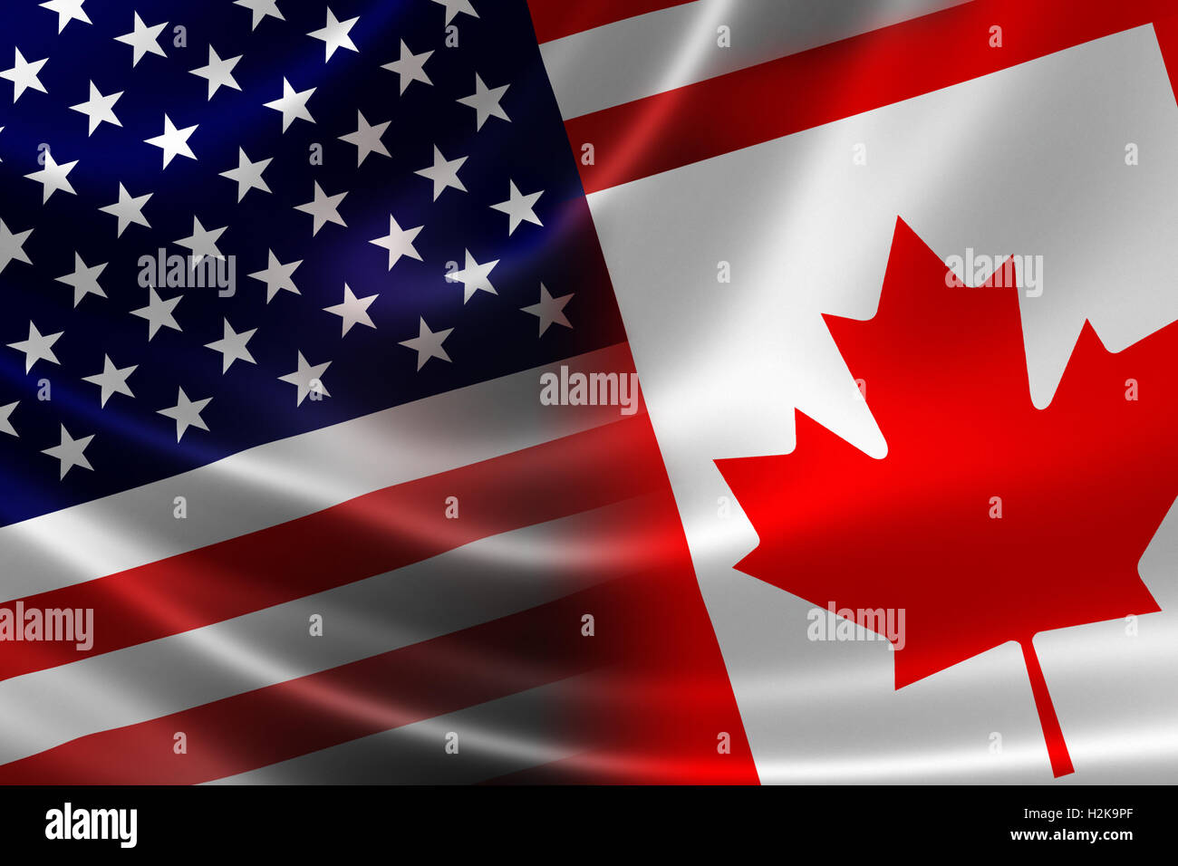 3D rendering of a merged Canadian-USA flag on satin texture. Concept of the mutually influential relations between Stock Photo
