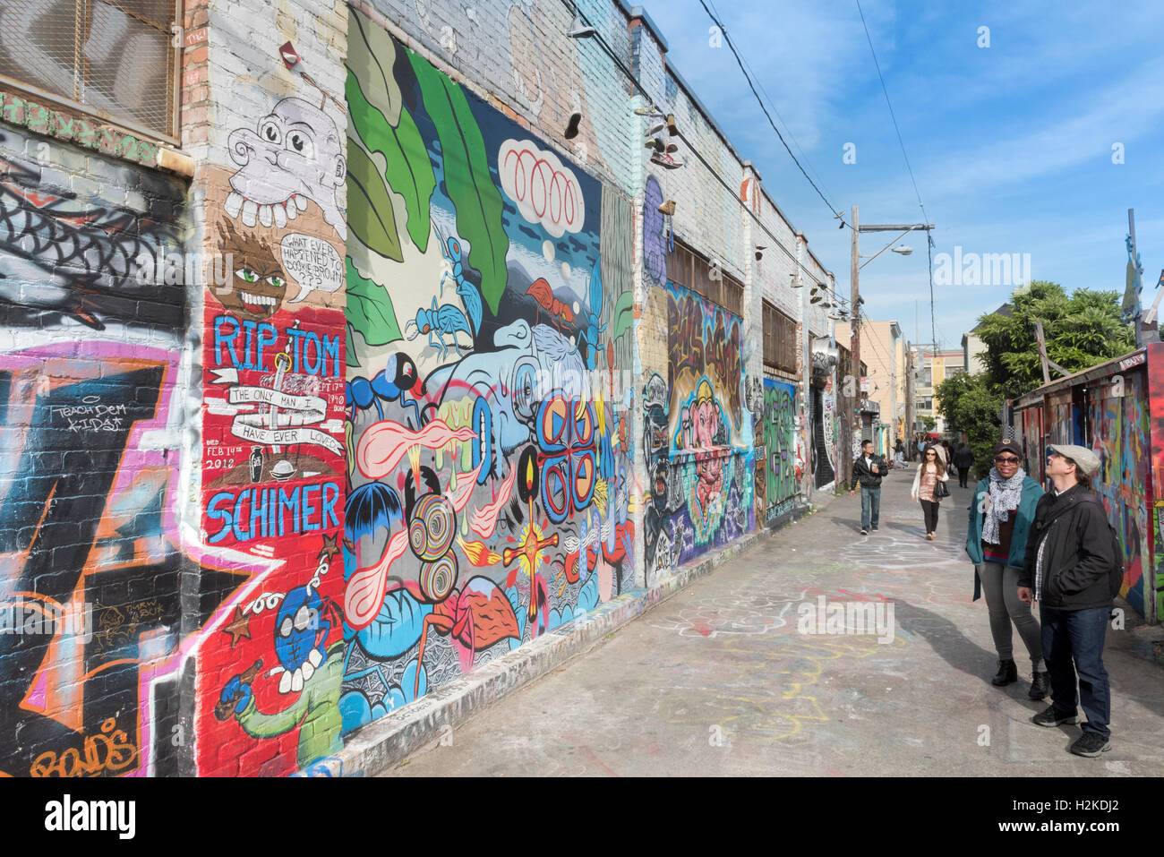 Murals And Graffiti Art On Walls In Clarion Alley In The Mission
