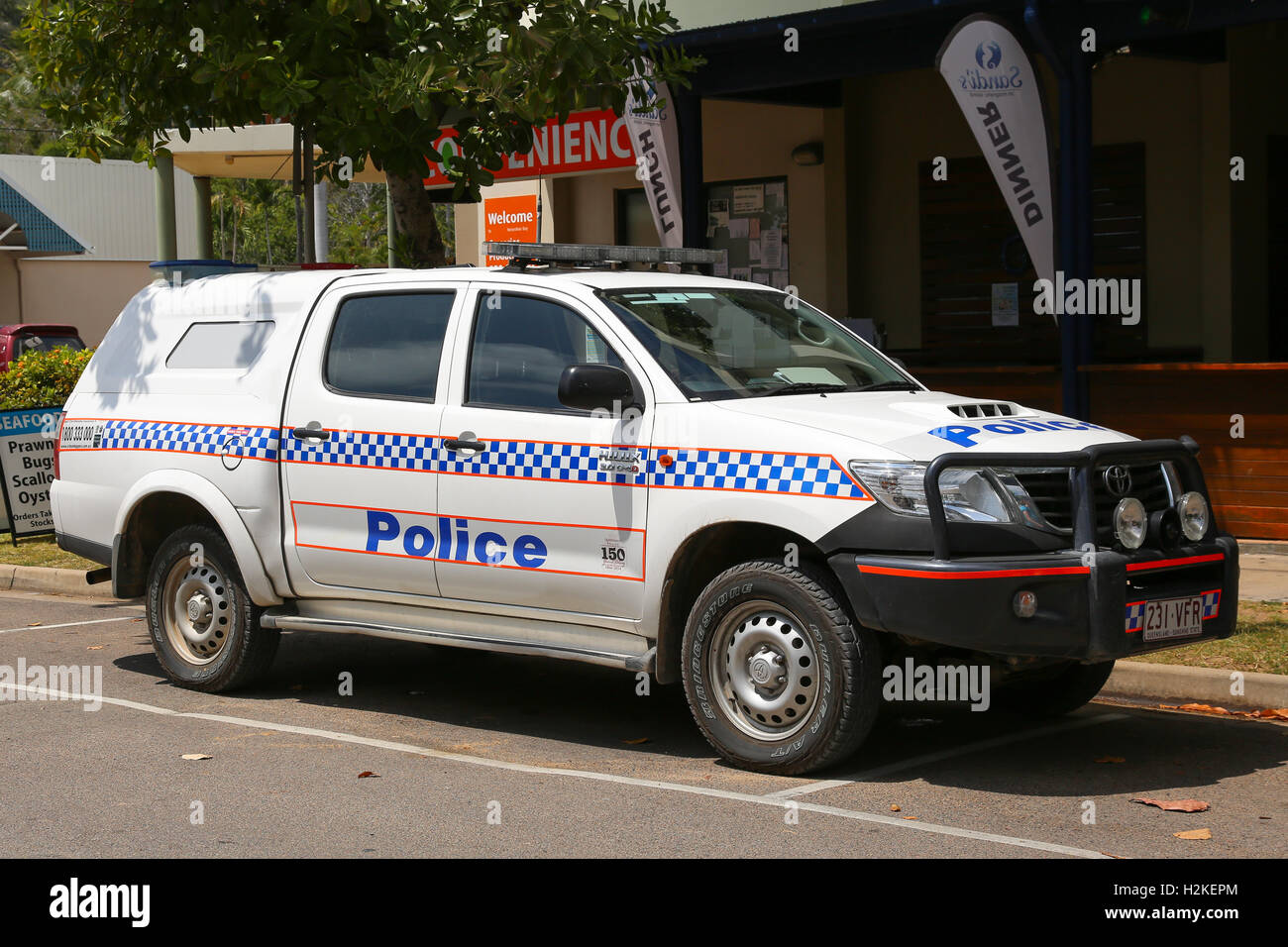 Queensland Police car parked on Magnetic Island - Stock Image