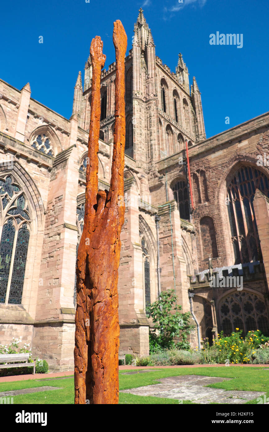 Hereford Cathedral, Hereford, UK - Beyond Limitations sculpture by John O'Connor made of iron resin and stainless - Stock Image