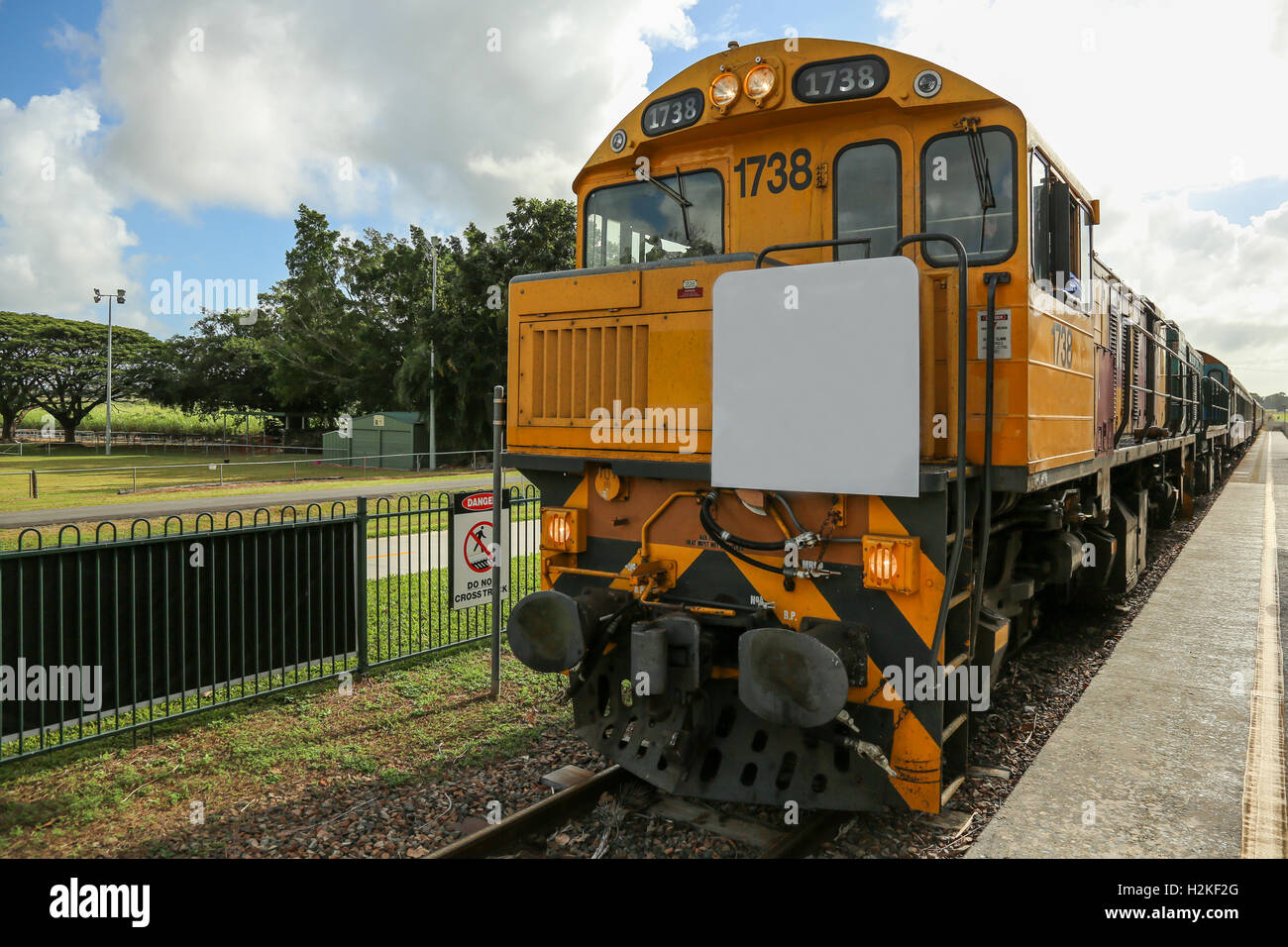 Diesel locomotive engine at an old scenic Railway in Kuranda Australia - Stock Image