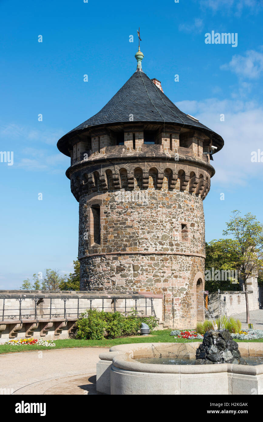 Wernigerode Castle is a castle located in the Harz mountains above the town of Wernigerode. Tower Stock Photo