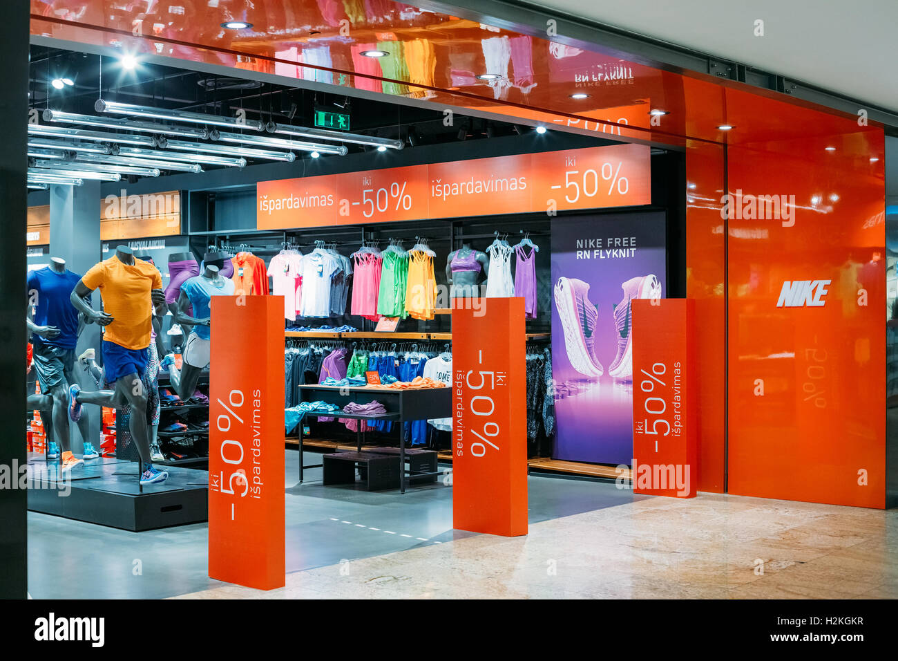 new products 335fb 8a1bf Vilnius, Lithuania - July 08, 2016 The Entrance To Nike Store At Acropolis  Shopping Centre At Period Of Discounts And Sales