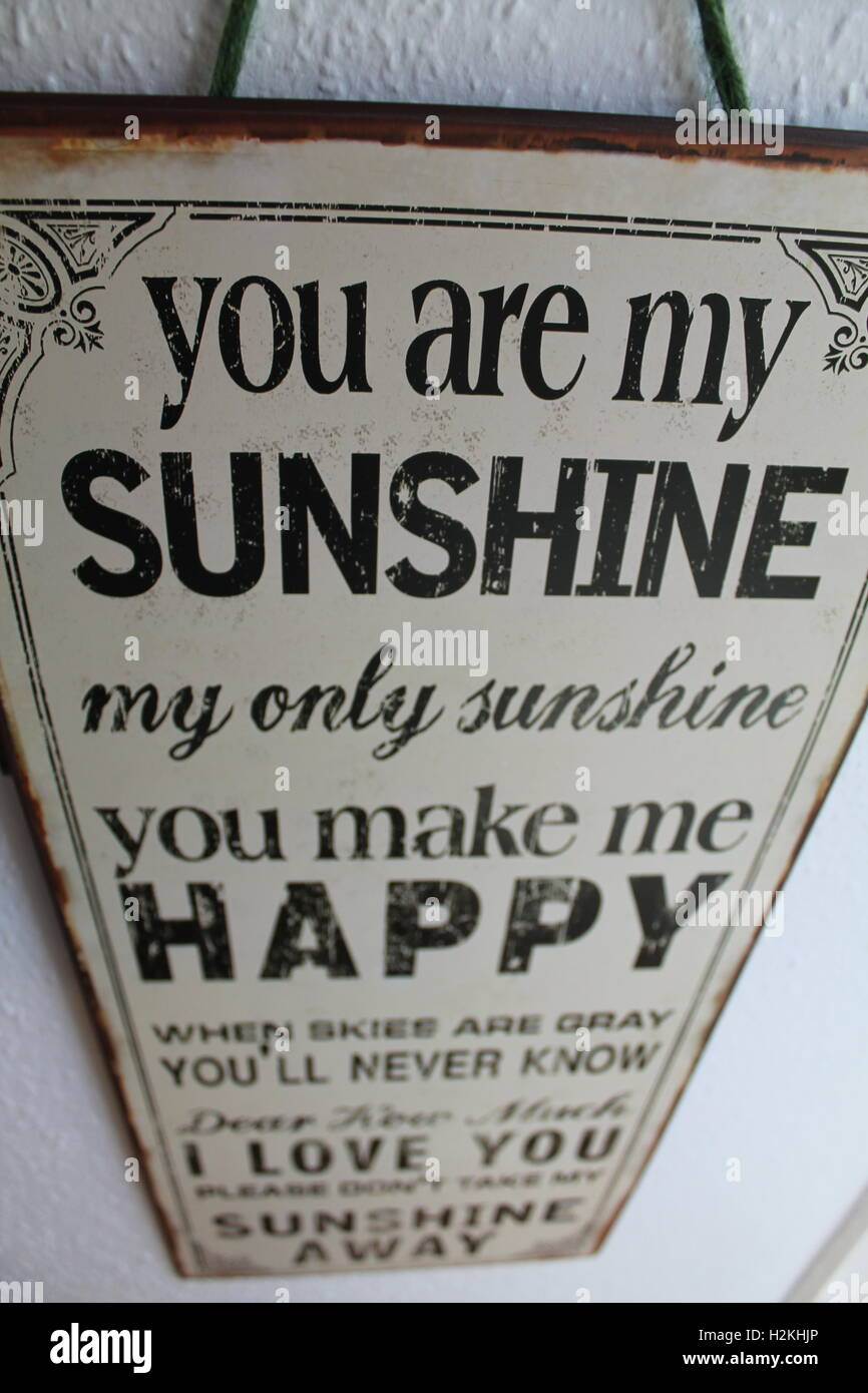 You Are My Sunshine Song Lyrics Hanging On A Wall Stock Photo
