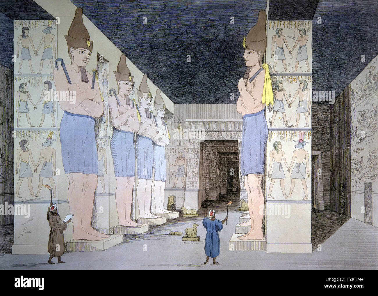 Engraving -Inside the temple of Abu Simbel - Egypt - Stock Image