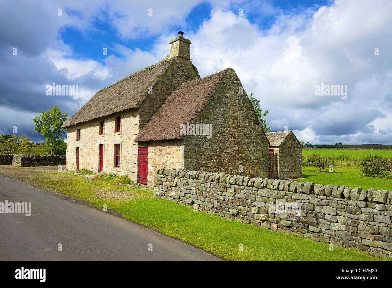 Causeway House. 18th century stone farmhouse, heather thatched known as black thack. Vindolanda, Bardon Mill, Northumberland, - Stock Image