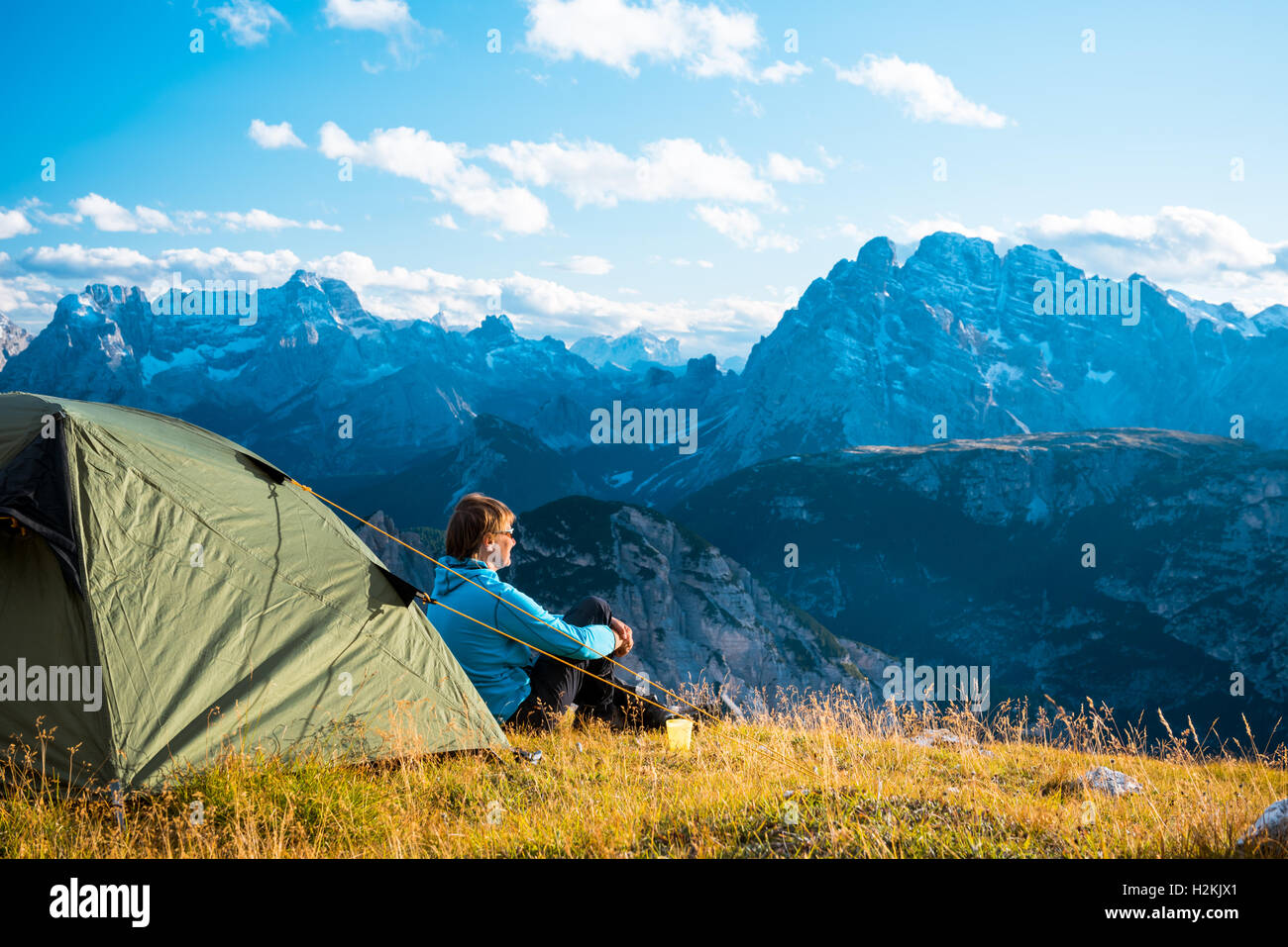 Camping in high mountains  Drei Zinnen Dolomites  Italy - Stock Image
