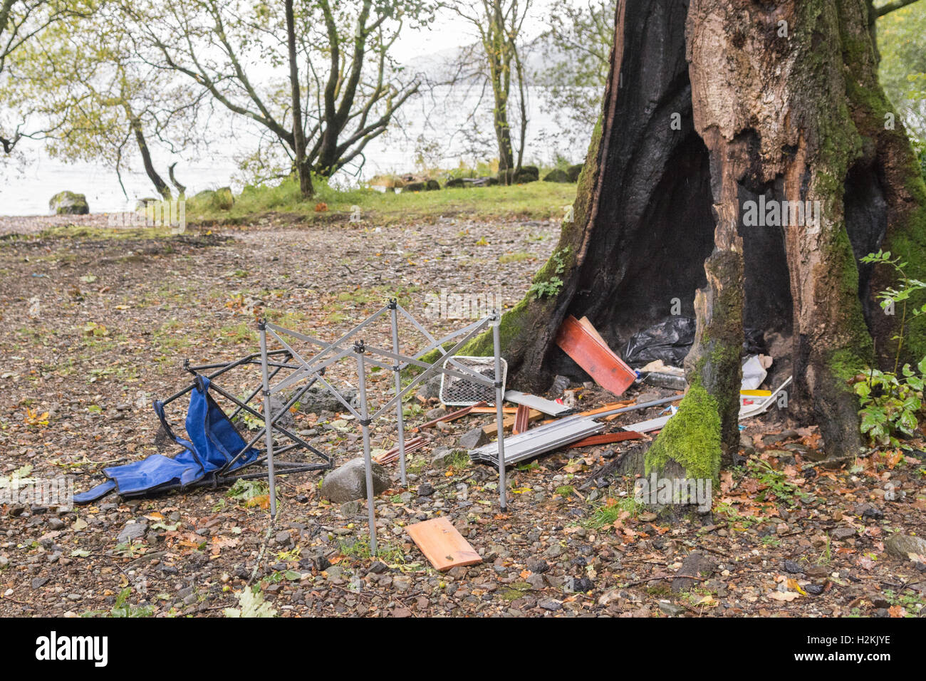 wild camping problems - Antisocial behaviour and environmental damage - on the Western shore of Loch Lomond Scotland - Stock Image