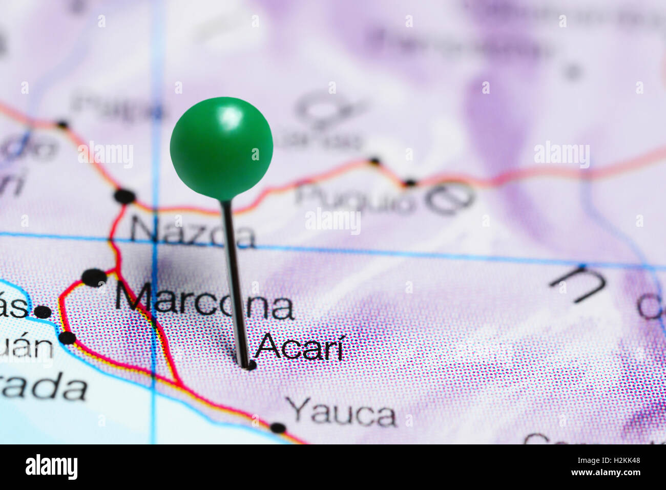 Acari pinned on a map of Peru Stock Photo: 122133992   Alamy