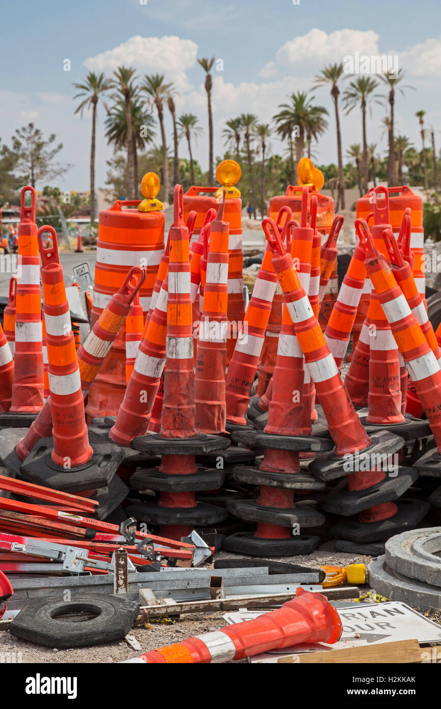 Las Vegas, Nevada - Traffic barriers stacked near a road construction site. - Stock Image