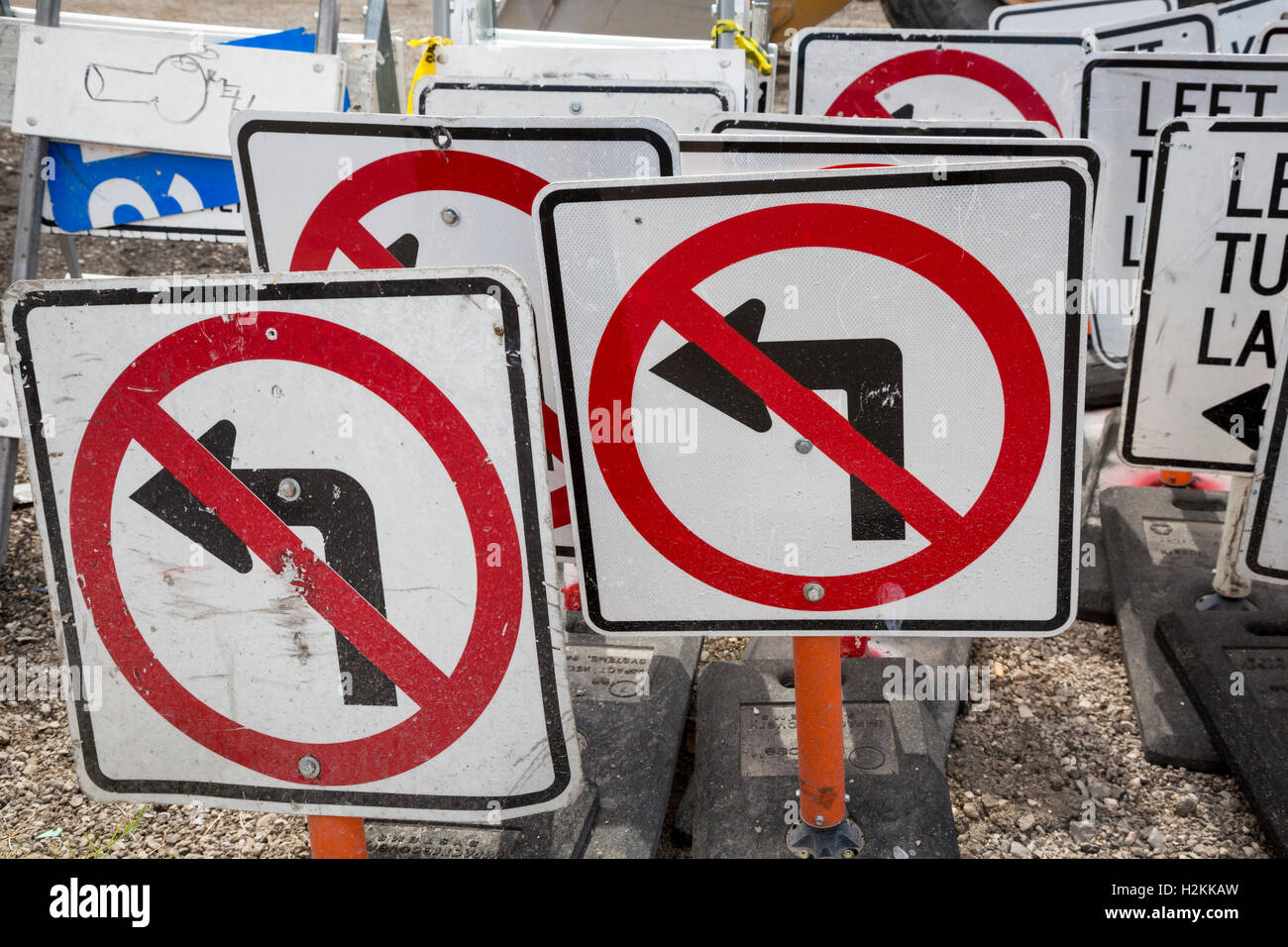 Las Vegas, Nevada - Portable traffic signs stacked near a road construction site. - Stock Image
