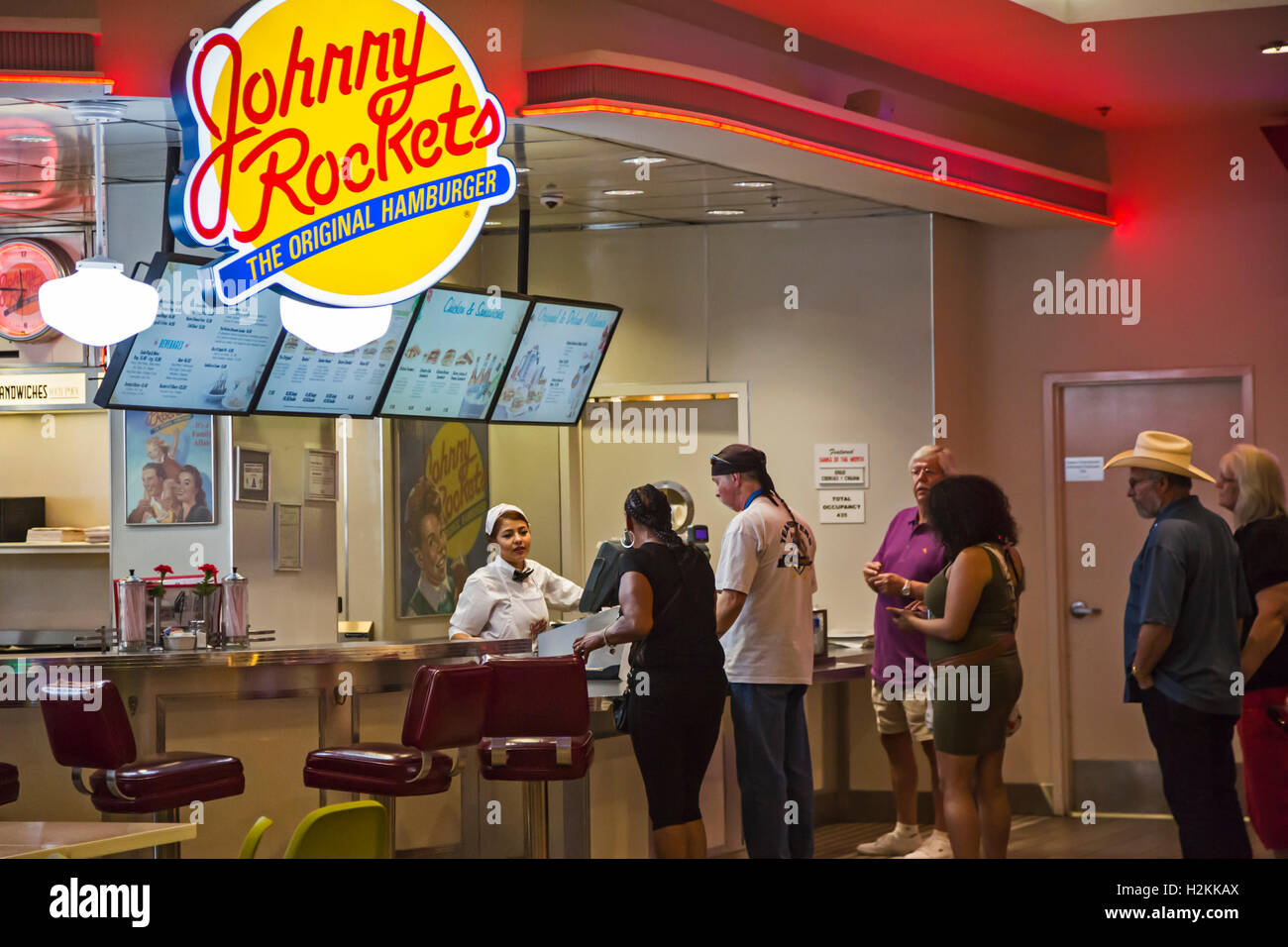 Las Vegas, Nevada - A worker takes orders at the Johnny Rockets restaurant in Bally's Hotel and Casino. - Stock Image