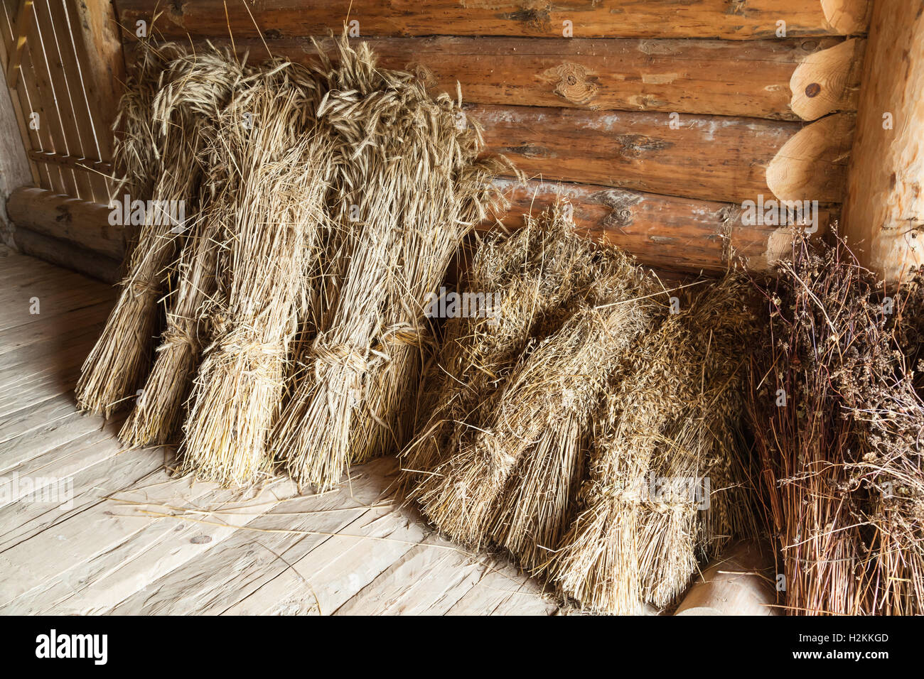 Hay Sheaves In Old Wooden Barn Interior Rural Russian Objects