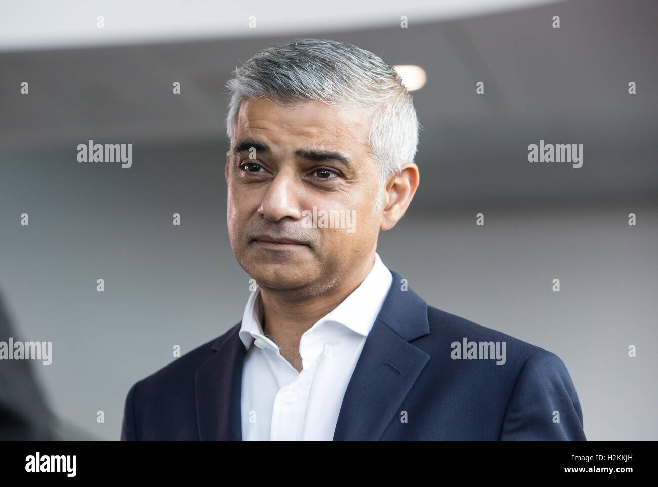 Newly elected Mayor of London,Sadiq Khan,gives an interview at the Labour party conference in Liverpool 2016 - Stock Image