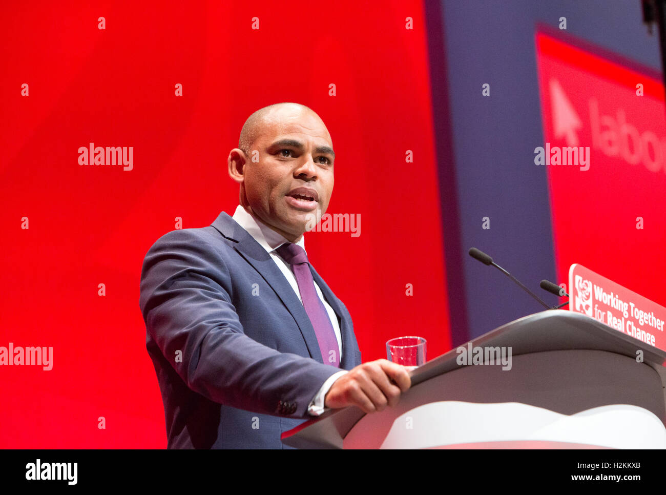 Marvin Rees,Mayor of Bristol and a Labour politician,speaking at the Labour party conference in Liverpool 2016 - Stock Image