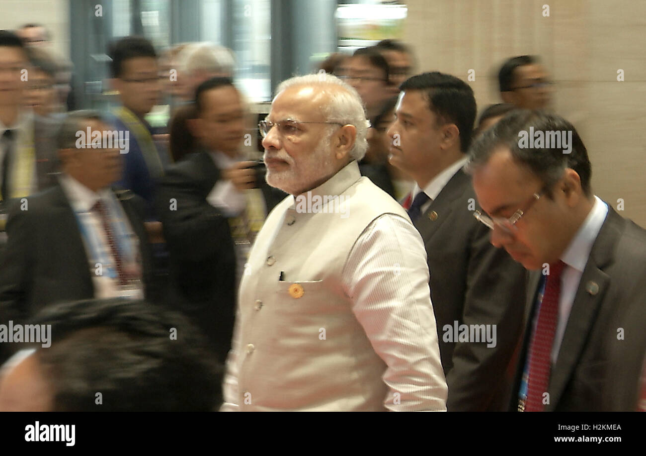 Narendra Modi, Prime Minister of India arrives at the Association of Southeast Asian Nations (ASEAN) summit the - Stock Image