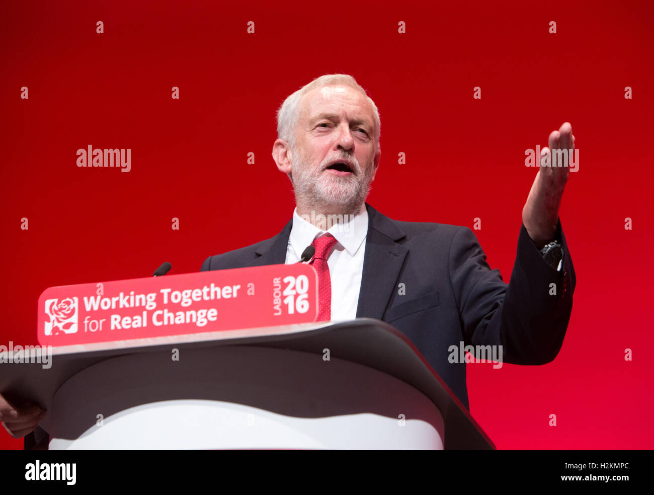 Labour leader,Jeremy Corbyn, delivers his keynote speech to the Labour party conference in Liverpool - Stock Image