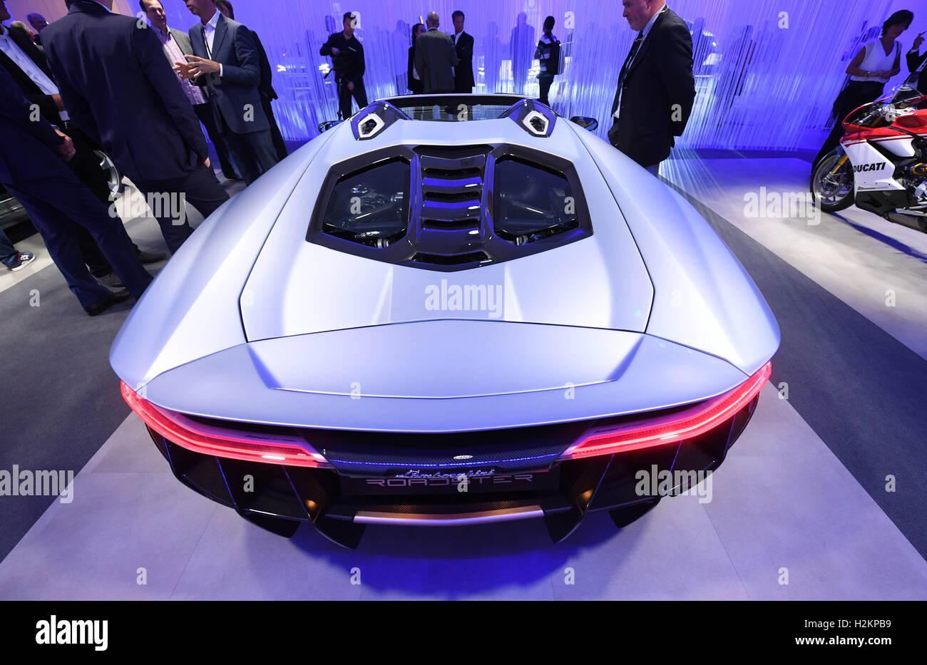 Paris France 28th Sep 2016 The Lamborghini Centenario Roadster