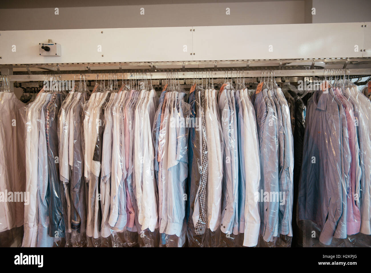 Oberursel, Germany. 03rd Sep, 2016. Picture of cleaned clothes in a laundry, taken on 03/09/16 in Oberursel   usage - Stock Image