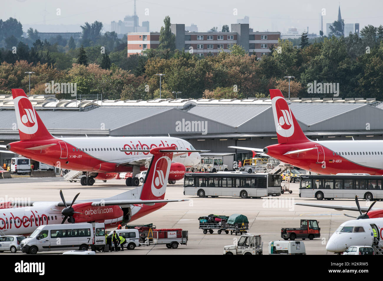 Airplanes of the airline Air Berlin can be seen at the airport in Duesseldorf, Germany, 29 September 2016. The financially - Stock Image