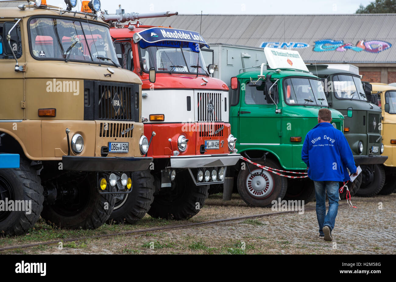 Schwerin, Germany. 30th Sep, 2016. Trucks of the brand W50 from the GDR stand on the grounds of the former vehicle - Stock Image