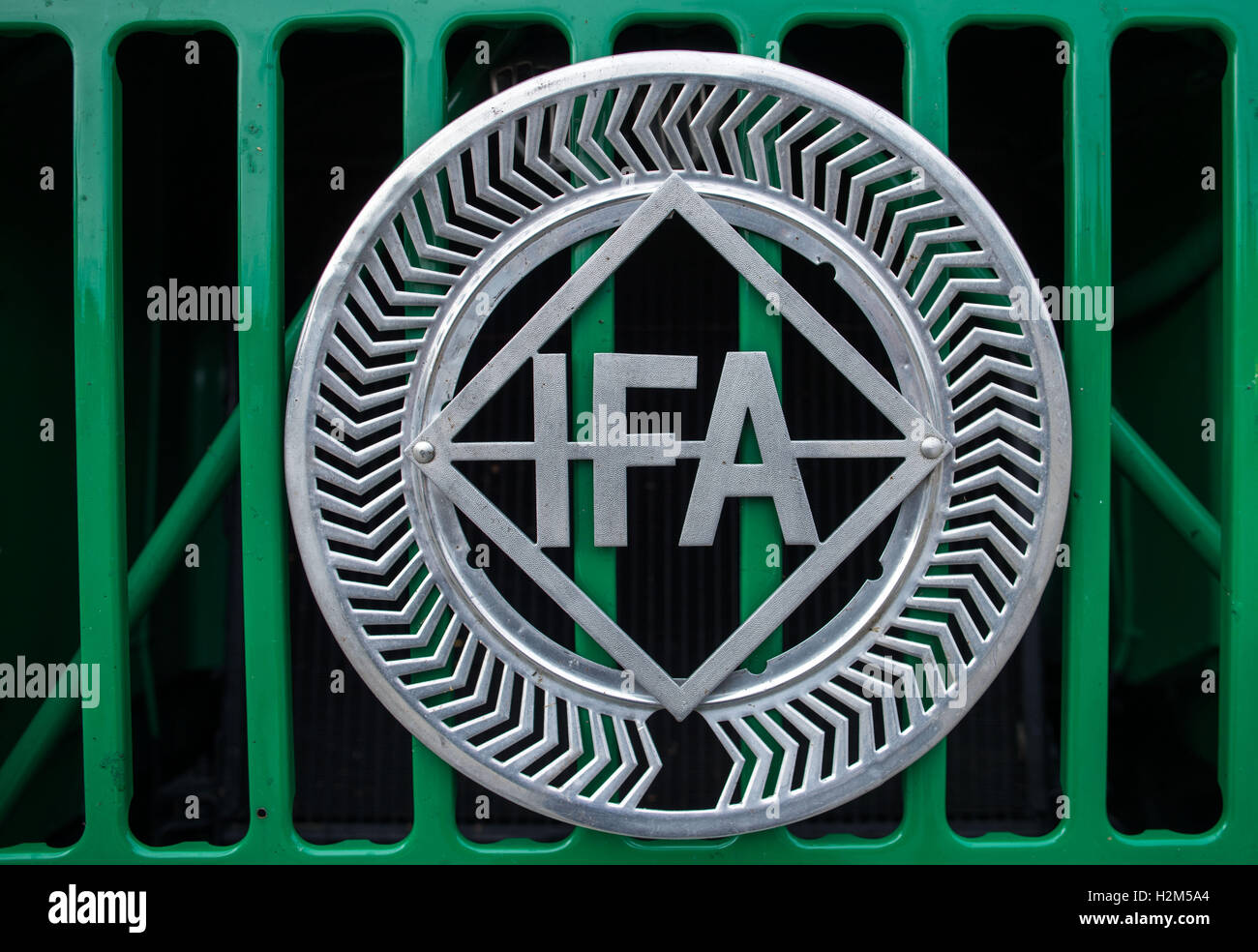 Schwerin, Germany. 30th Sep, 2016. The type sign 'IFA' can be seen on a radiator grille of a truck of the - Stock Image