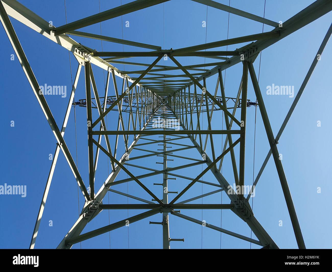 Stromleitung, Strommast Stock Photo