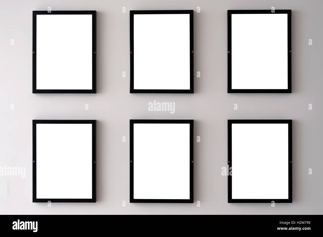 Six blank picture frames hanging on a white wall Stock Photo ...
