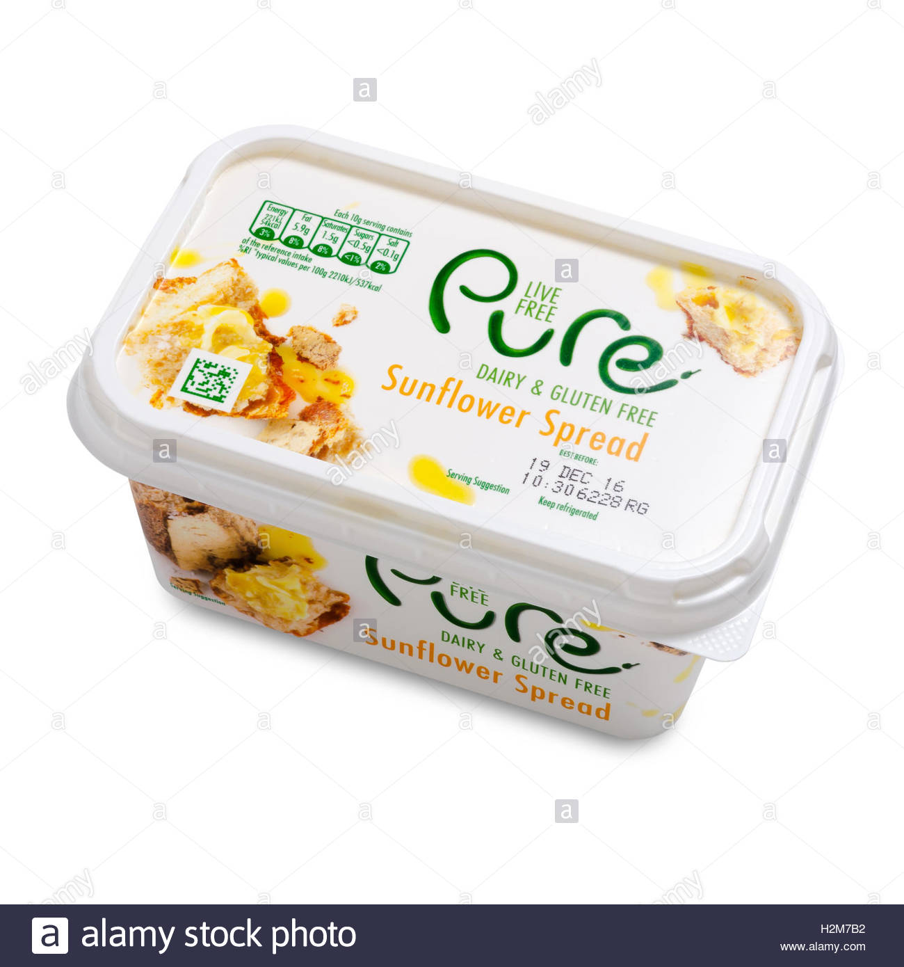Tub of Pure Sunflower Spread. A gluten and dairy free alternative to butter, made by Ker - Stock Image