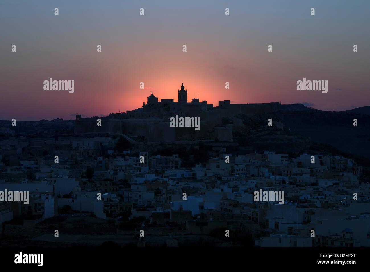 Cathedral, sunset, Cittadella, Victoria, Gozo, Malta - Stock Image