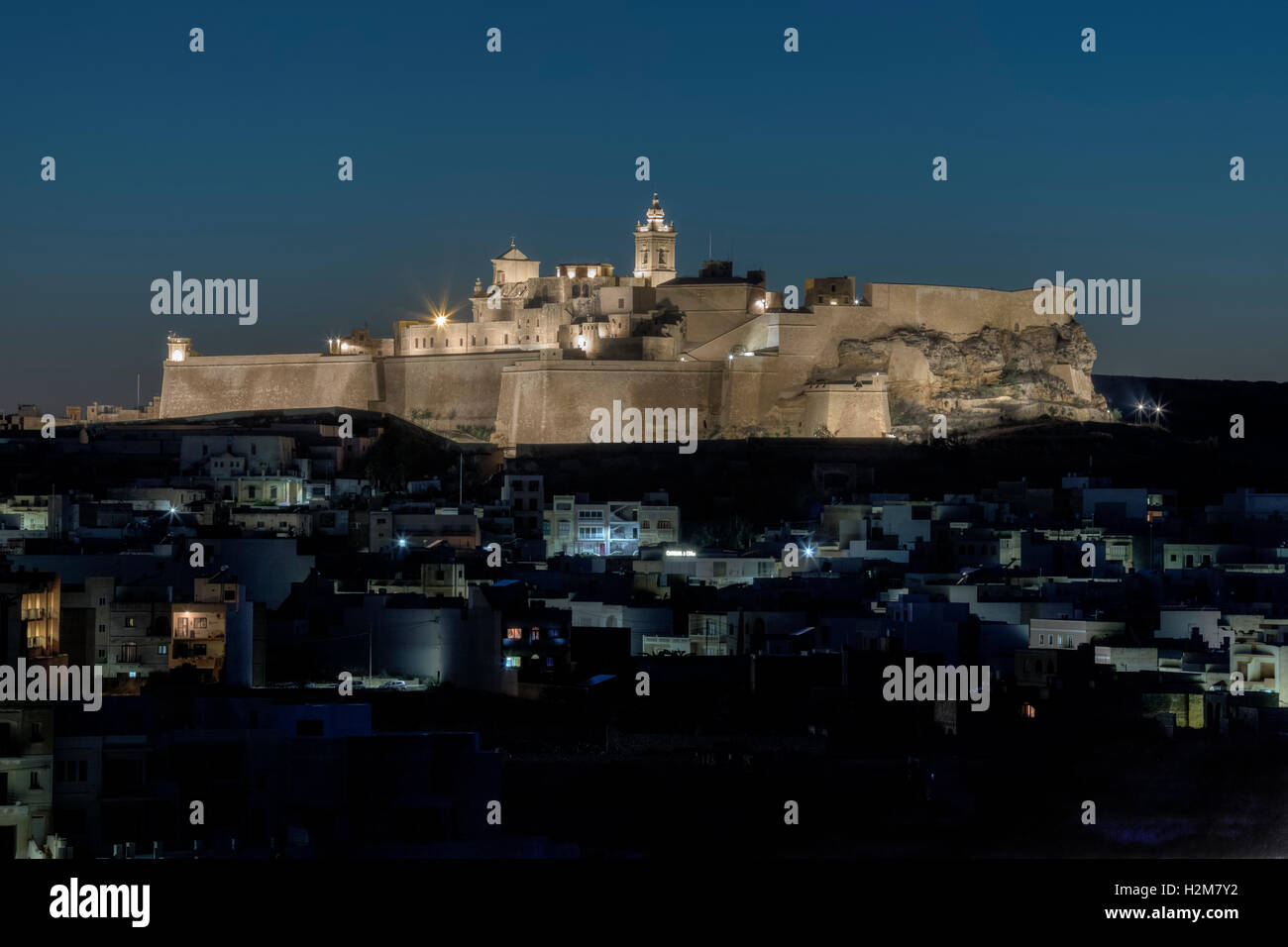 Cittadella at night, Victoria, Gozo, Malta - Stock Image