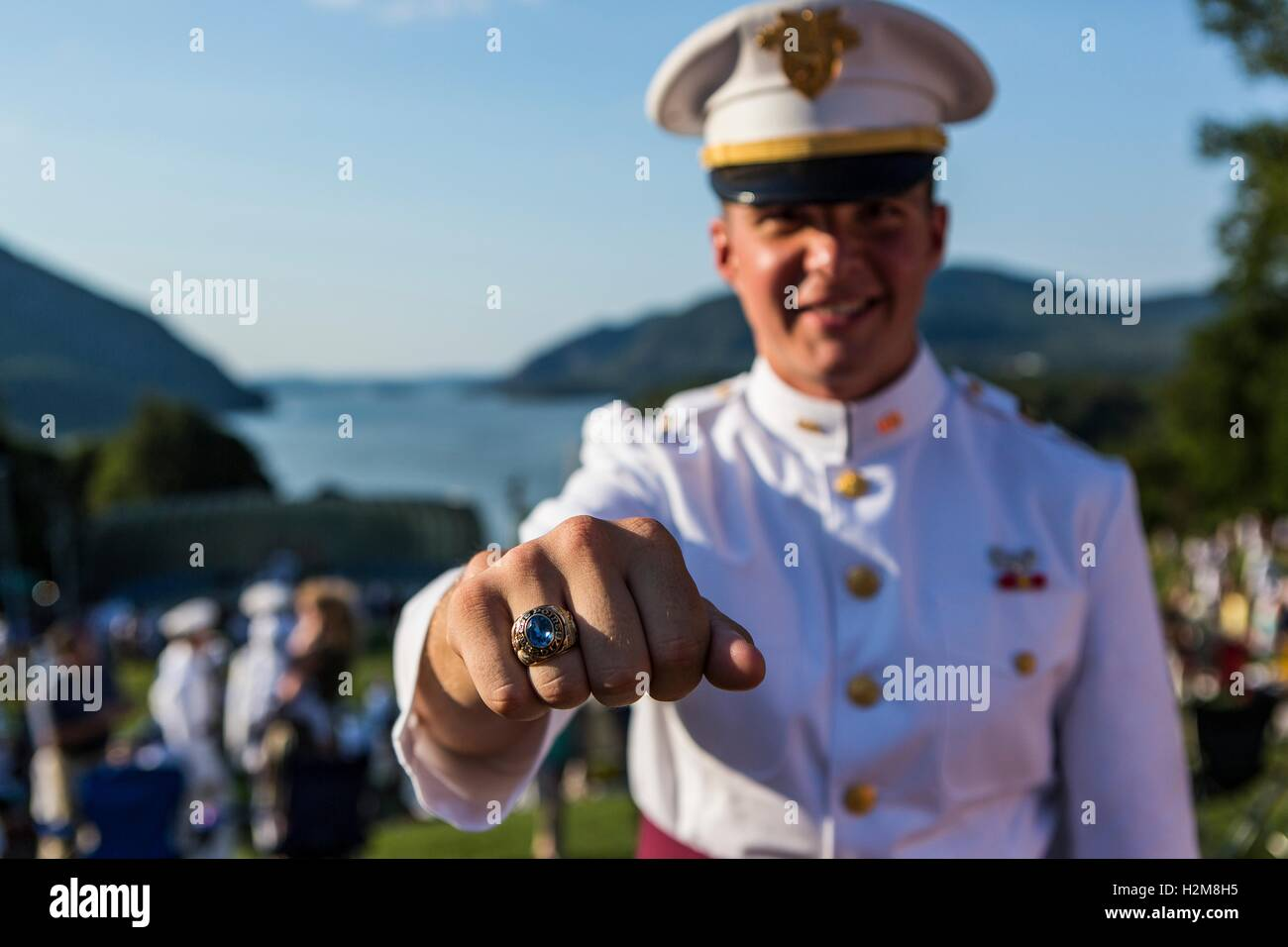 A U.S. Military Academy Class of 2017 senior student shows off his class ring during the annual Ring Ceremony at - Stock Image