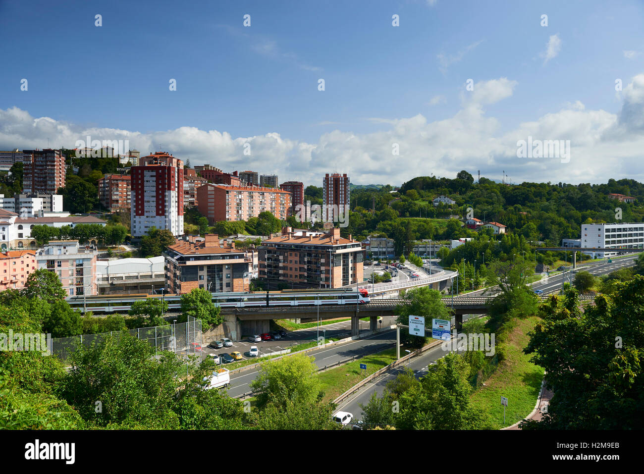 Train in Donostia, Guipuzkoa, Basque Country, Euskadi, Spain, Europe - Stock Image