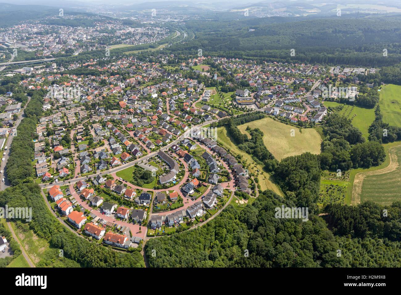 Aerial view, settlement Anton-pity path Bergheim, Aerial view of Arnsberg Sauerland, North Rhine-Westphalia, Germany, - Stock Image