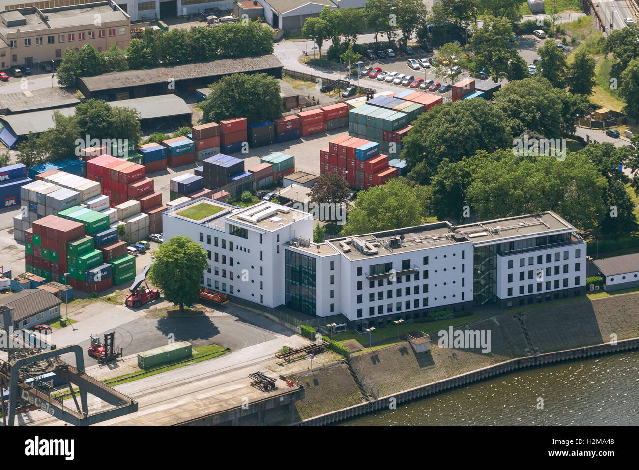 Aerial view, Duisburg harbor, inland port, port authority Duisport, administrative headquarters, Duisport, Aerial - Stock Image