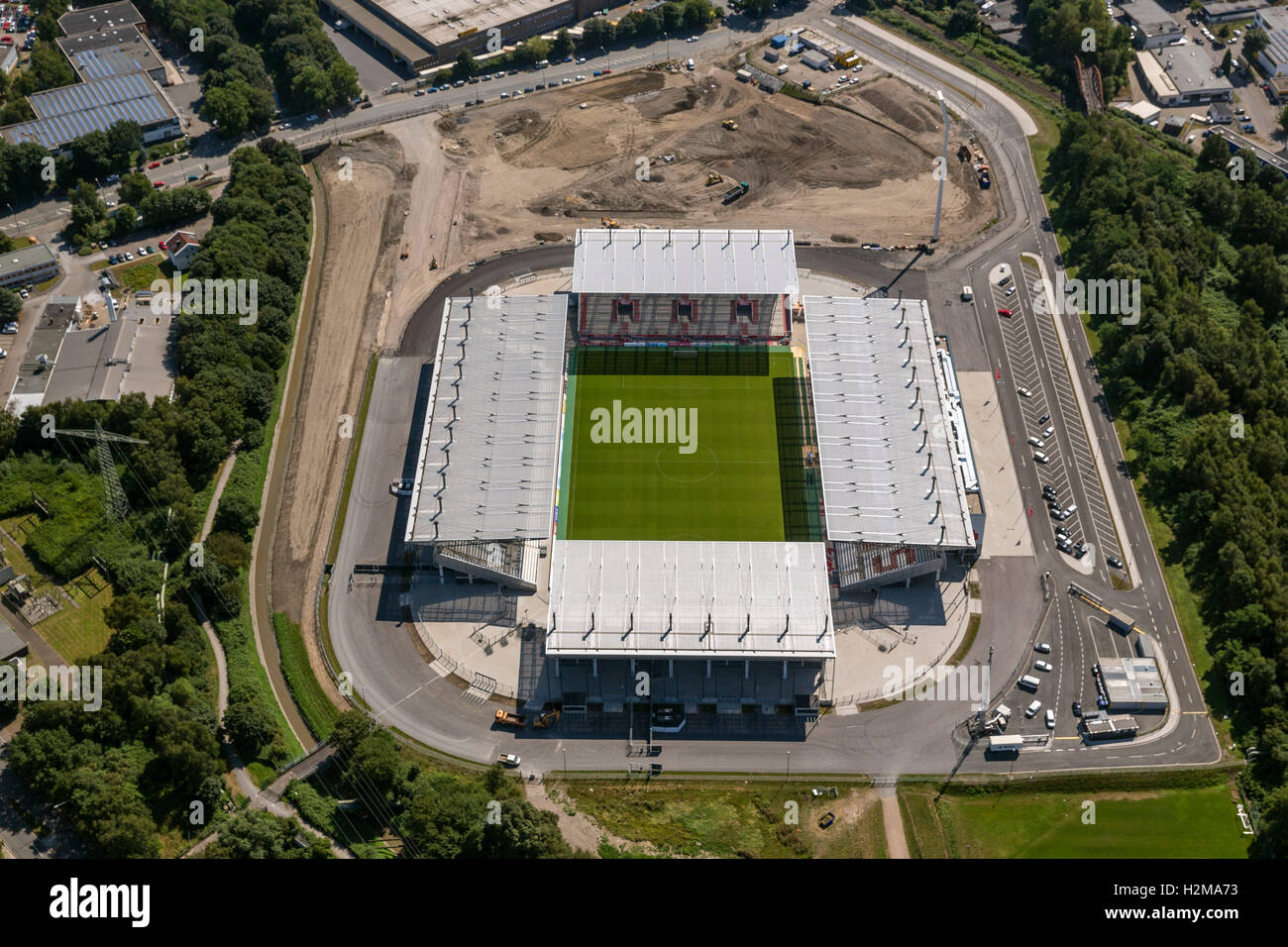 Aerial view, Rot-Weiss-Essen Stadium on the port road, Essen, Ruhr, Northrhine westphalia, Germany, Europe, Aerial - Stock Image